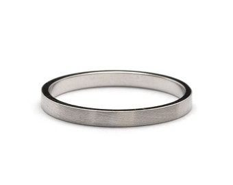 2mm Flat Brushed Matte White Gold Wedding Ring