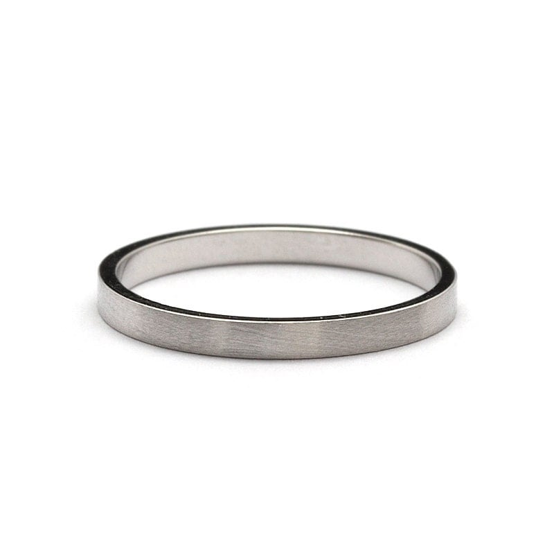 2mm flat brushed matte white gold wedding ring