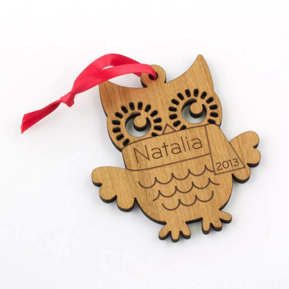 Personalized Wood Owl Ornament