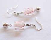 Pink Stripe Infinity Silver Earrings, Authentic Cane Glass, Sterling Silver Components