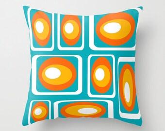 Modern Throw Pillow,  Geometric Pillow, Blue Pillow, Decorative Throw Pillow, Mid Century Modern Pillow, Mod  Pillow, Cool Pillow