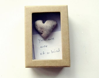Unusual Fathers Day Card - actual heart rock in a box
