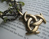 The Last Leaves of Fall modern macrame necklace with triquetra pendant