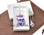 Cheshire Cat Alice in Wonderland character necklace handmade handmolded in polymer clay