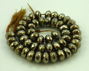 Pyrite faceted large rondelle beads 8.5mm set of 6
