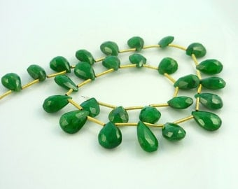 Pretty genuine emerald faceted briolette beads 10-12mm 1/2 strand