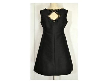 1960's Vintage Cocktail Dress, Sleeveless Little Black Black Dress with Diamond Cut-out and Black/Gold Glass Bead Trim by Wilson Folmar