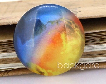 Circle Blue Yellow Earth Photo Glass Cabochon Magnet Paperweight Pushpins crystal Handmade Dome 10mm 12mm 14mm 16mm 18mm 20mm  22mm 25mm30mm