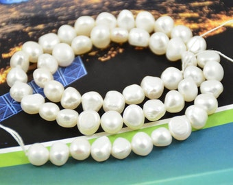 One strand White Freshwater Cultured Pearl Beads Gemstone 6mm-8mm  One Strand 14.5""