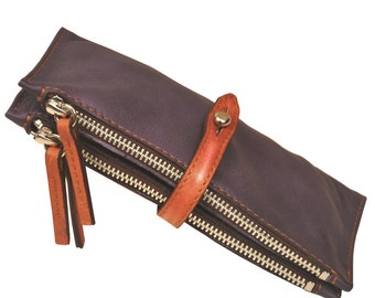Leather Wallet  Women's Handmade made in Levanda (light purple),named Helios MADE TO ORDER