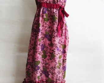 D8, Queen Elizabeth, Garden, Floral, Summer, Maxi, Pink Cotton Dress