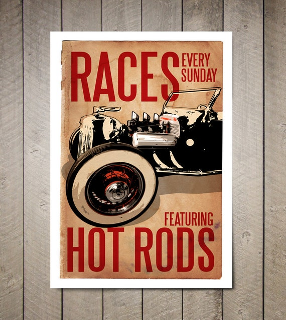 Vintage, Car, Hot Rod races, Art Print, Poster size, Auto, Man Cave, Garage, Decor, Car Gift, Auto Art, Car Wall Art, Gift under 25