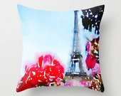 Paris Spring Watercolor Pillow Cover. Eiffel Tower with Magenta Flowers Painting, Paris Pillow,Colorful Watercolor Pillow, Paris Painting,
