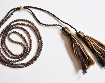 ON SALE Long Brown Crystal Tassel Necklace