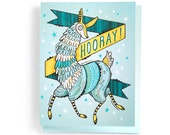 Congratulations Card: Hooray for Llamas! Illustrated and hand-lettered in yellow and blue