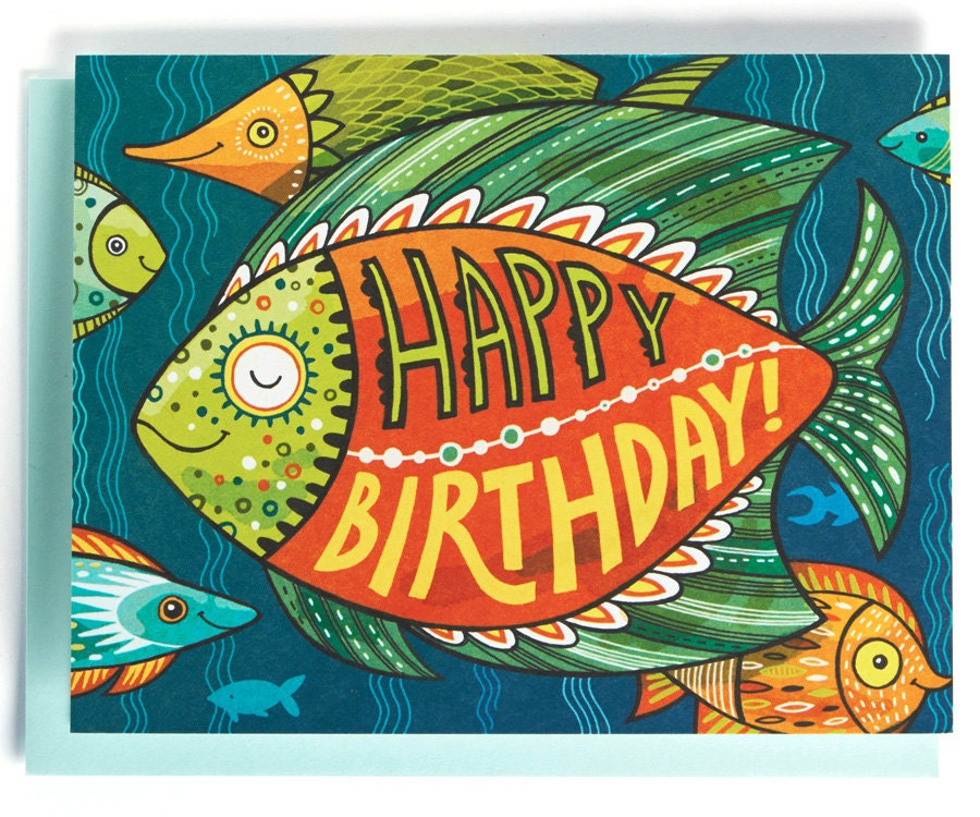 Birthday Card: Tropical Fish Of The Sea Illustrated And