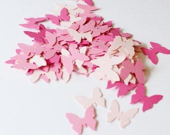 Pink Confetti Butterflies, Pink Paper Die Cut Butterflies, Wedding Confetti Butterfly, Die Cuts for Scrapbooking or Cardmaking