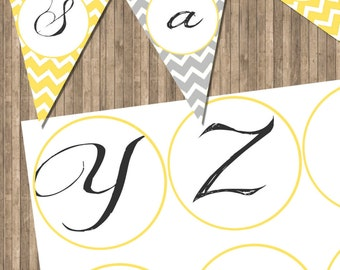 INSTANT DOWNLOAD Yellow Printable Letters for Banners on 8x11 300 dpi Sheet