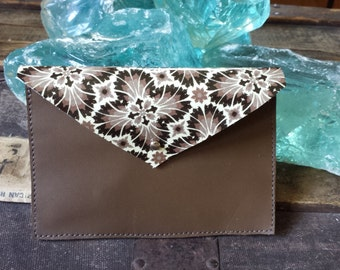 Handmade Mocha and Printed Patent Envelope Clutch