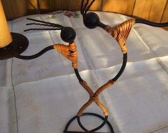 Dancers. Vintage Iron and Bamboo Candle Holder. Tribal Sculpture