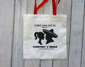12 Custom Wedding Canvas Totes with Colored Handles - Eco-Friendly Natural Cotton Canvas