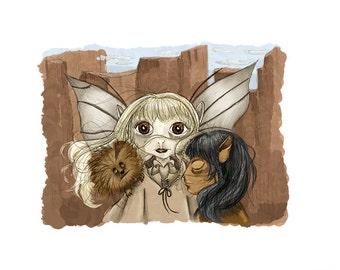 Kira & Jen - The Dark Crystal - 5x7 Illustration Print