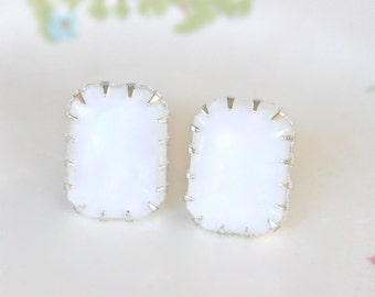 White Moonstone Rectangle Silver Prong Glass Rhinestone Post Earrings - Wedding, Bridal, Bridesmaid,Beach