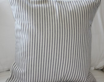 Pillow Cover Waverly Blue and Off White/Cream Striped Timeless Ticking 16x16