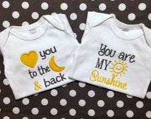 Baby Boy Outfit - Baby Girl Outfit - Twin Outfits - Cool Baby Shower Gift for Twins - Love you to the Moon - You are My Sunshine - Baby Gift