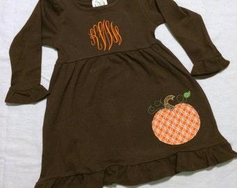 Thanksgiving Pumpkin Dress - Monogrammed Thanksgiving Dress - Girls Thanksgiving Dress - Girls Pumpkin Dress