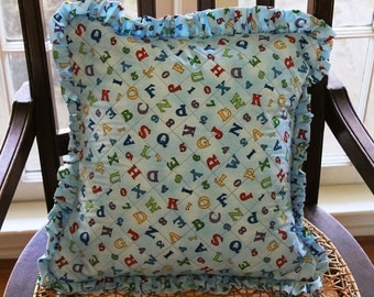 Child's soft cotton ABCs quilted 15 pillow with ruffle, blue with bright colors pillow insert included