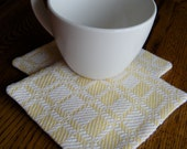 Handwoven Fabric Coasters, Set of Two Coasters, Mug Rugs, Beverage Coasters, Drink Coasters, White and Yellow Coasters, Hand Woven Coasters