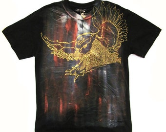 Washable Hand Painted & Dyed Owl Tattoo illustrative T-Shirt Men's XL to XXL
