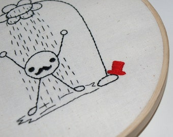 Embroidery, Stitchery Pattern PDF,Mr Mustachio Direct Download -