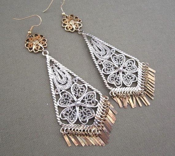 Large Mixed Metals Filigree Dangle Earrings, long dangle metal earrings