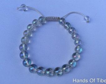 Tibetan mala Rainbow Crystal Quartz wrist mala/ bracelet 8mm for meditation