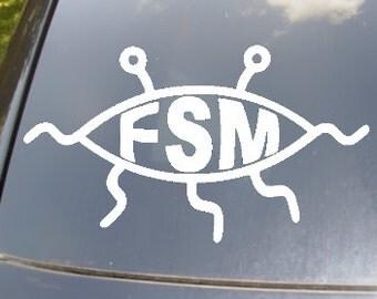 Flying Spaghetti Monster Car Vinyl Decal Sticker