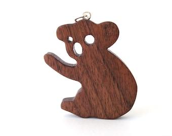 Wood Koala Necklace Australian Animal Jewelry Scroll Saw Hand Cut Pendant Walnut