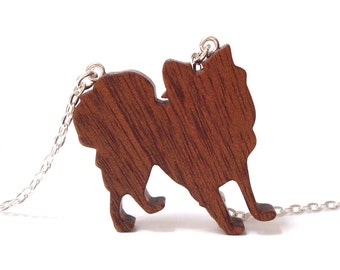Papillon Dog Necklace Wooden Pet Dog Pendant Jewelry Hand Cut Wood Scroll Saw Sapele