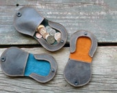 Leather Coin Purse- change pouch with catch