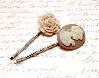 Victorian Cameo and Rose Hair Accessories. Blush Rose Pink Hair Pins. Peach Pink Flower Hair Clips. Victorian Hair Barrettes.
