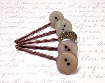 Vintage Olive Green Button Bobby Pins. Rustic Wedding Hair Accessories. Olive Green Button Hair Pins. Set of 5.