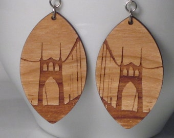 St Johns Bridge Large Diamond Earrings, Unpainted Cherry Wood