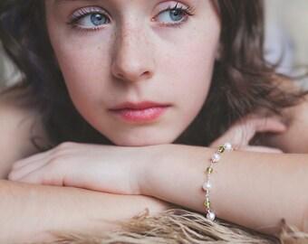 Genuine Peridot Bracelet, Ivory Freshwater Pearls, AAA Real Gemstone, Sterling Silver, Girl's Jewelry, August Birthstone
