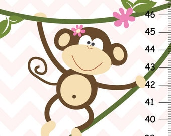 Pink Chevron Monkey Canvas Growth Chart, Personalized Kids Wall Art