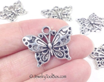 Butterfly Charms, Antique Silver Butterfly Pendants, Pewter, 19x24mm, Lot Size 10 to 50, #1033 BY