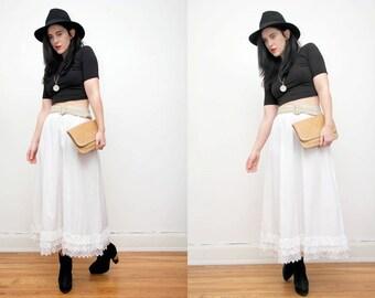 Vintage White Lace Cotton Batik Boho Hippie High Waist Maxi Skirt 70s