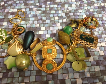 Recycled/Upcycled Gold/ Green  Charm Bracelet