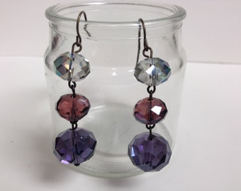 Shades of Purple Faceted Crystal Earrings