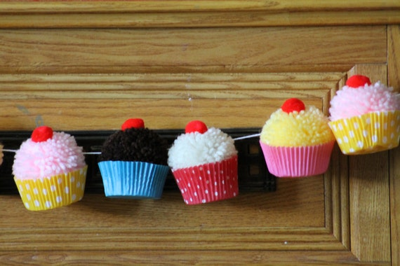 Cupcake Birthday Party | Cupcake PomPom  Garland | Bake Shop | Cupcake Party Decor | Cupcake Bunting | Cupcake Decorating Party | Banner